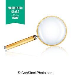 realístico, gradiente, objeto, isolado, mesh., zoom, vidro, fundo, vector., branca, magnificar