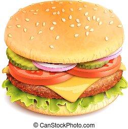 realístico, hamburger, isolado