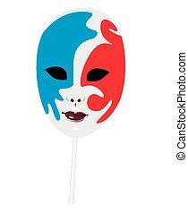 realístico, ilustração, de, carnavais, máscara