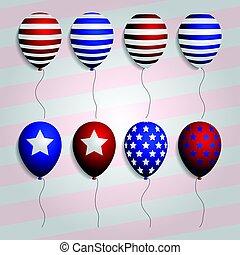 realístico, jogo, balões, com, americano, patriótico, símbolos, e, colors., vetorial