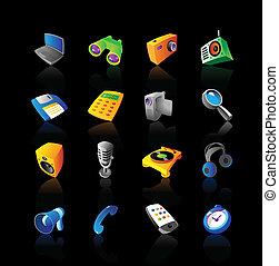 realístico, jogo, dispositivos, ícones