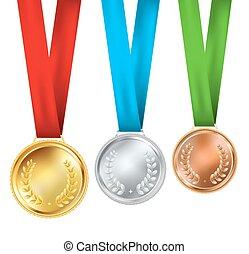 realístico, jogo, três, medalhas