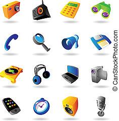 realístico, jogo, vário, dispositivos, ícones