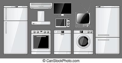 realístico, lar, jogo, eletrodomésticos