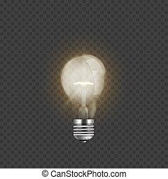 realístico, luz, isolado, iluminado, experiência., bulbo, transparente