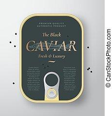 realístico, mão, esturjão, caviar, etiqueta, cobertura,...