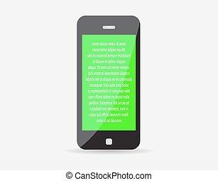realístico, móvel, texto, eps10., screen., ilustração, telefone, vetorial, verde, icon., representando, seu, esperto
