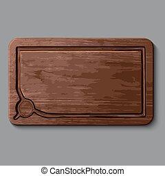 realístico, madeira, tábua cortante
