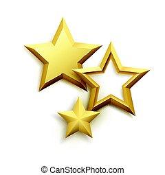 realístico, metálico, dourado, estrela, experiência., vetorial, ilustração