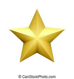 realístico, metálico, dourado, estrela, isolado, branco, experiência., vetorial, ilustração