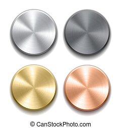 realístico, metal, botões