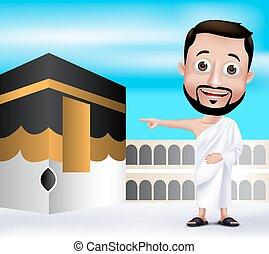 realístico, muçulmano, personagem, homem
