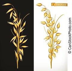 realístico, oat., vetorial, 3d, ícone