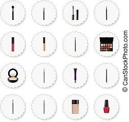 realístico, olho, pincel, multicolored, paleta, líquido, batom, e, outro, vetorial, elements., jogo, de, cosméticos, realístico, símbolos, também, inclui, paleta, blusher, tinta, objects.