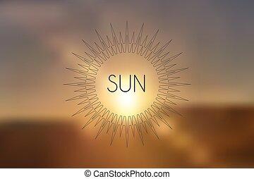 realístico, pôr do sol, ilustração, borrão