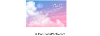 realístico, pink-blue, céu