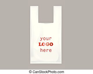 realístico, sacola plástica, cabos, vetorial, branca