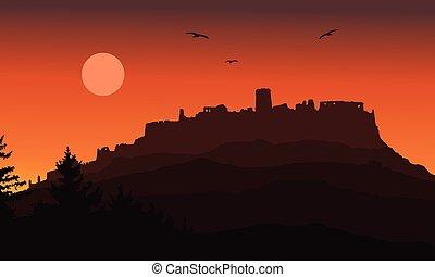 realístico, silueta, de, a, ruínas, de, um, medieval, castelo, construído, ligado, um, colina, além, a, floresta, sob, um, céu dramático, com, lua, voando, pássaros, e, sol ascendente, -, vetorial