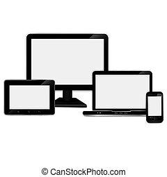 realístico, tabuleta, laptop, computador