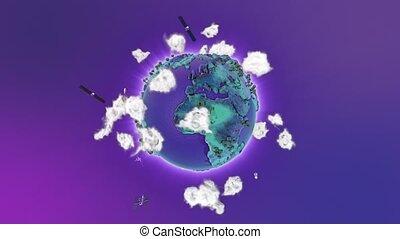 realístico, terra, girar, ligado, azul, loop., globo, é, centrado, em, quadro, com, correto, rotação, em, seamless, loop.
