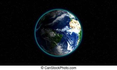 realístico, terra, girar, ligado, pretas, espaço, fundo, com, estrelas, volta, ., globo, é, centrado, em, quadro, com, correto, rotação, em, seamless, loop.