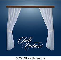realístico, tulle, cortinas, para, decoração, janela., vetorial, ilustração
