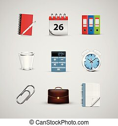 realístico, vetorial, ícones, teia, escritório