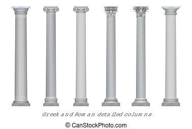realístico, vetorial, antiga, grego, roma, coluna, capitais, set.