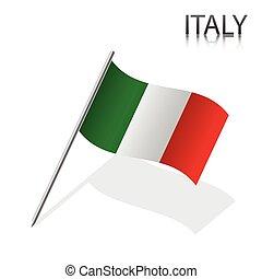 realístico, vetorial, bandeira, ilustração, italiano
