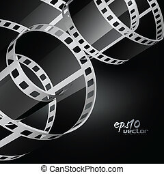realístico, vetorial, bobina, película