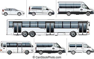 realístico, vetorial, transporte, giga, cidade
