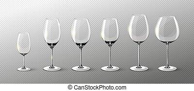 realístico, vinho, vazio, cobrança, óculos