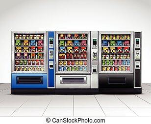 realístico, vista, frente, máquinas, vending