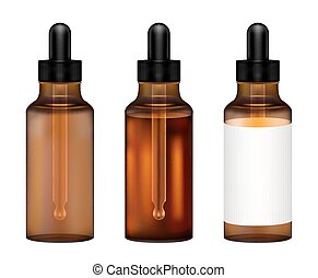 real amber glass bottle with eye dropper vector