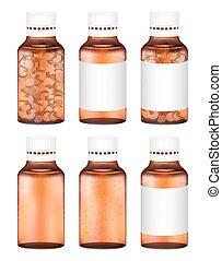 real amber glass medicine pills bottle