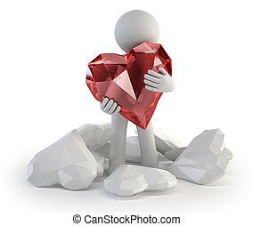 real, amor, pessoas, -, pequeno, 3d