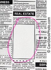 real, anúncio, propriedade