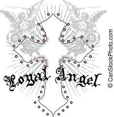 real, anjo, com, crucifixos, emblema
