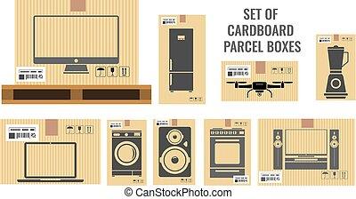 real, apartamento, diferente, jogo, illustration., tamanhos, utensílio, lar, caixas, vetorial, vário, equipments., papelão