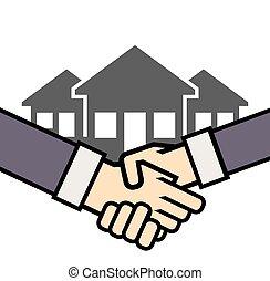 real, aperto mão, vetorial, propriedade, ícone