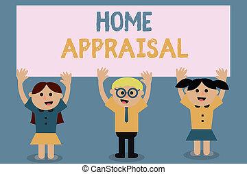 real, appraisal., determina, texto, mostrando, sinal, foto, conceitual, lar, propriedade, avaliação, valor