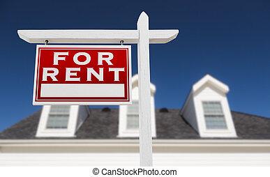 real, azul, propriedade, sky., casa, profundo, sinal, enfrentando, aluguel, frente, esquerda