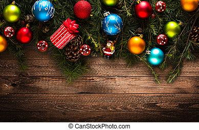 real, baubles, coloridos, quadro, madeira pinho, verde, feliz natal