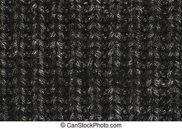 Real black knit texture. Background, pattern concept....