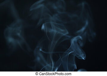 real blue smoke background in dark environment, abstract...