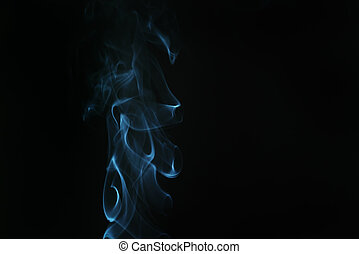 real blue smoke over black background, abstract backdrop
