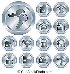 real, botões, propriedade