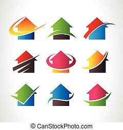 real, casa, logotipo, propriedade, ícones