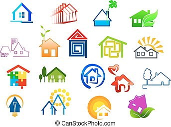 real, casa, propriedade, coloridos, ícones