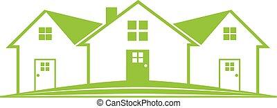 real, casa, propriedade, logotipo